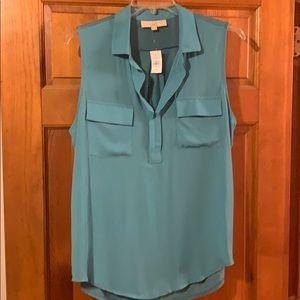 NWT Ann Taylor Loft Mixed Media Shirt turquoise XL